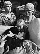Nico and Ivenda Dobrzensky on the set of La dolce vita. German singer-songwriter and actress Nico (Christa Paeffgen) lying on a sofa with count Ivenda...