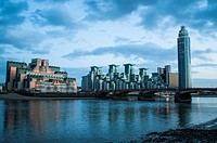 MI6 building and St George Wharf buildings and Tower, Vauxhall, London UK.