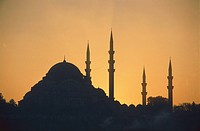 Sueleiman Mosque in Istanbul at sunset