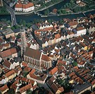 Aerial photograph of Landshut with Martin's church (Bavaria, Germany)