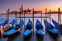 Gondolas Moored Near St Marks Square, Venice, Italy.