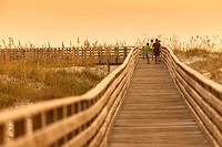 A scenic view of a boardwalk thru the sand dunes at the Gulf Coast State Park´s white sand beach, in Orange Beach, Alabama