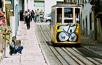 Opened in 1892 the Elevador Da Bica funicular passes through the lively district of Bica, Lisbon, Portugal, Europe.