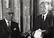 Arnaldo Mondadori and Konrad Adenauer. Close up of Arnaldo Mondadori and of Konrad Herman Josef Adenauer on the occasion of the presentation of 'Memor...
