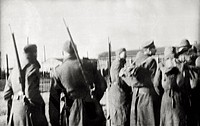 Soldiers at the Fallingbostel concentration camp. The British Allies have put the Germans to flight from the concentration camp. Fallingbostel, April ...