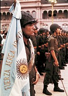 Argentine soldiers standing at attention. Soldiers of Argentine Air Force standing at attention during a military ceremony. Buenos Aires, 1977