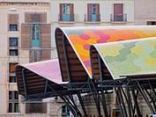 Detail of Mercat de Santa Caterina - Fresh Food Market in Barcelona, Catalonia, Spain.