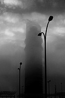 The Pelli Tower in Sevilla amidst the fog.