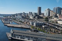 A view of the Seattle waterfront from the ferris wheel.