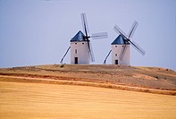 La Mancha, old style windmills.