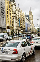 View of a traffic jam in Gran Via, Madrid city, Spain.