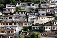 Berat riverfront buildings, Berat, Albania.