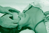 headmassage at lying woman - , 01/07/2012