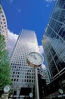 Canary Wharf Clocks, Mondaine type, London Docklands, England, UK