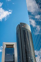 View of three towers in Castellana street, Madrid city, Spain.