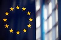 The EU flag inside central building.