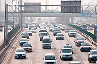 Traffic at the North 4th Ring Road Middle in Beijing, China.