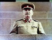 Joseph stalin watching the may day parade from lenin's tomb in red square, moscow, ussr, 1952, (still from a news reel).