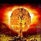Brain as atomic bomb. Conceptual artwork of a human brain in the form of an atomic bomb's mushroom cloud. The brainstem and the gyri (folds) of the ce...