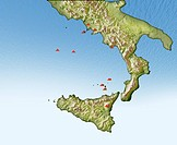 Volcanoes in Italy, illustrated map. North is at top. This map shows southern Italy and the island of Sicily (lower centre). The volcanoes are indicat...