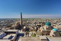 world heritage, Islam Khodja, Khiva, Khorezm, Region, Uzbekistan, Central Asia, Asia, architecture, city, colourful, history, medresa, madrasa, minare...