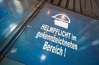 Health and safety notice, hard hat area, Neunfelder Maschinenfabrik, NMF, Hamburg, Germany