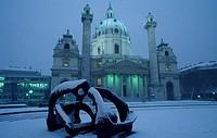 church Karl s Cathedral in winter, Austria, Vienna, 4. district, Karl s church.