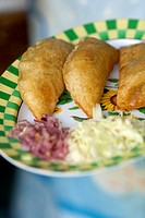 Pie-empanada ready to serve in a restaurant in Palenque town, Palenque, Chiapas State, Mexico, North America.