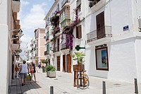 Narrow Paved Roads with Shops in Ibiza Town.