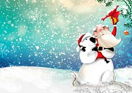 Illustrative image of Santa Claus with snowman representing Christmas celebration.