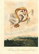 Allegorical illustration of Flora dispensing her Favours on the Earth. Painted by Cosway, engraved by Burke. Handcoloured stipple copperplate engravin...
