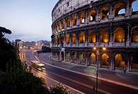 The Colosseum in Rome at twilight.
