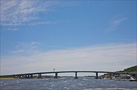 Oceanic Bridge, connecting Sandy Hook with Atlantic Highlands, a borough in Monmouth County, Bayshore Region, New Jersey, USA. Town overlooks where At...