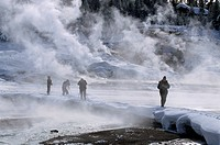 Visitors Taking Pictures of Geysers