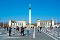 Hosok tere the Heroes square, Varosliget the city park, Budapest, Hungary, Europe
