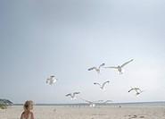 Gulls Flying Towards Girl on Beach