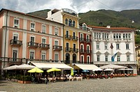 An der Piazza Grande, Marktplatz, im Stadtzentrum von Locarno, Tessin, Schweiz / At the main square Piazza Grande in the centre of Locarno,Ticino, Swi...