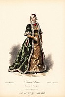 Russian noblewoman, 19th century. Handcoloured lithograph after a design by Leon Sault from L'Art du Travestissement (The Art of Fancy Dress), Paris, ...