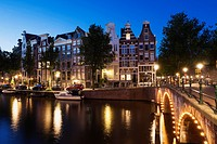 Netherlands, Holland, Amsterdam, Prinsen canal and bridge in the evening