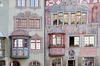 Bürgerhäuser am Rathausplatz, Stein am Rhein, Kanton Schaffhausen, Schweiz