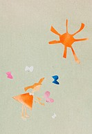 child's applique - red hair girl and butterfly