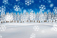 Composite image of fir trees in snowy landscape with snow falling