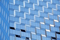 Blue zigzags in new glass building in New York City, New York State, USA