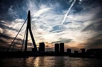 Sunset skyline of the Erasmus Bridge Rotterdam, the Netherlands.