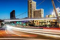 The Harbor Drive Pedestrian Bridge in downtown San Diego viewed at night. San Diego, California, United States.