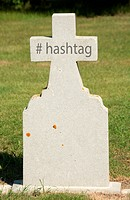 Hashtag symbol written on an older marble tombstone with copy space.