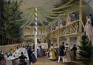 Party at Hotel Europa in Vienna, print. Austria, 19th century.  Vienna, Historisches Museum Der Stadt Wien (History Museum)