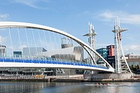 England, Manchester, city, Salford, Quays, Millenium Lift Bridge and, Lowry and Media City Skyline