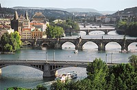 The bridges over the Vltava River, with the Charles Bridge (14th-15th century) in the centre, Historic Centre of Prague (UNESCO World Heritage List, 1...