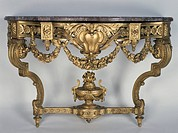 Louis XVI style Second Empire (Napoleon III) carved and gilt wood console table, Maison Grohe label, Paris. France, second half 19th century.  Private...